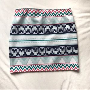 Zara Traf Aztec print stretchy pull on skirt